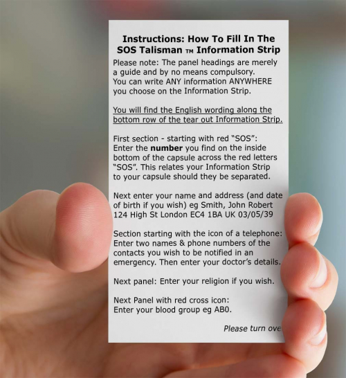 SOS Talisman Retailer Instructions Card