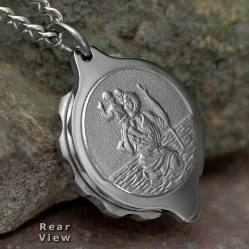 SOS Talisman St Christopher Medical ID Alert Necklace (Pendant & Chain). Unisex. Stainless Steel. St Christopher on the back. SOS sign & unscrew direction arrows on the front. ST20a