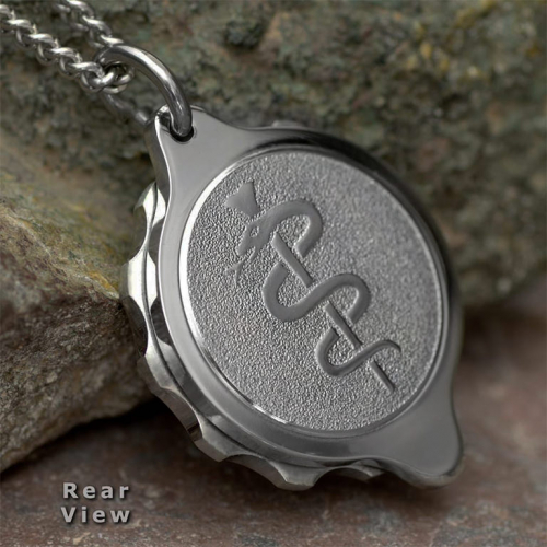 SOS Talisman Snake & Staff Medical Symbol ID Alert Necklace (Pendant & Chain). Unisex. Stainless Steel. Snake & staff medical symbol on the back. SOS sign & unscrew direction arrows on the front. ST21