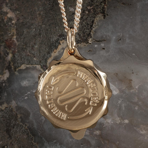 SOS Talisman Gold Plated Medical ID Alert Necklace (Pendant & Chain). Unisex. High polish on the back. SOS sign & unscrew direction arrows on the front. ST42