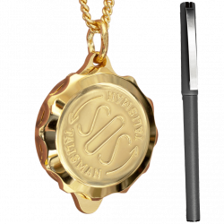 SOS Medical Pendant Necklace & Pen Set. Gold Plated. Waterproof. ST42PEN